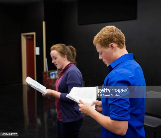 students reading scripts in high school drama class - actor stock pictures, royalty-free photos & images