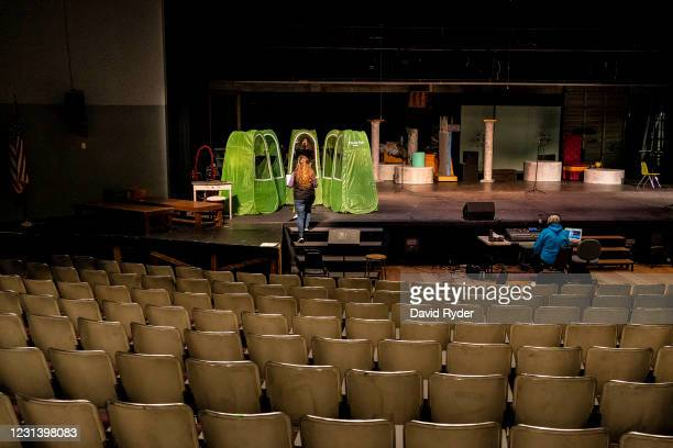 Students record vocals in pop-up tents during choir class at Wenatchee High School on February 26, 2021 in Wenatchee, Washington. The school has been...