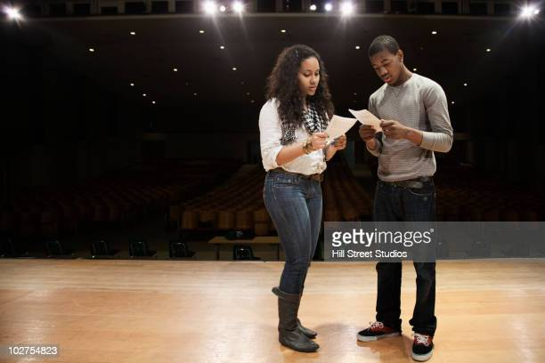 students rehearsing onstage - rehearsal stock pictures, royalty-free photos & images