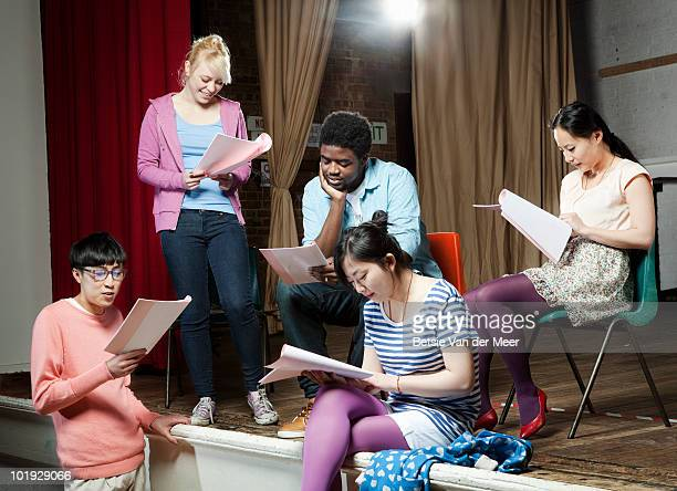 students rehearsing play. - rehearsal stock pictures, royalty-free photos & images