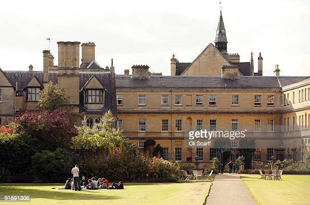 Students relax in the grounds of Trinity College as Oxford University commences its academic year on October 8 2009 in Oxford England Oxford...