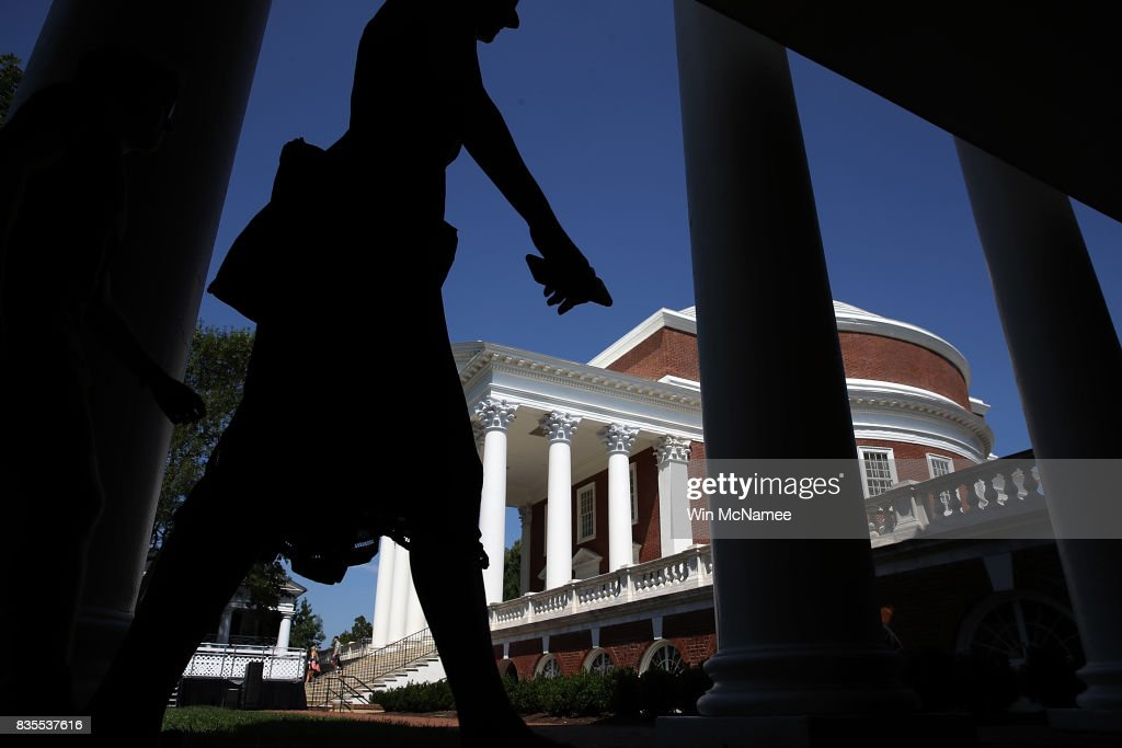 Students return to the University of Virginia for the fall semester on August 19, 2017 in Charlottesville, Virginia. One week ago the town of Charlottesville was placed in the national spotlight when white supremacists descended upon the town to stage a rally protesting the removal of a statue of Robert E. Lee when violence broke out resulting in the death of one counter protester and two members of the Virginia State Police.