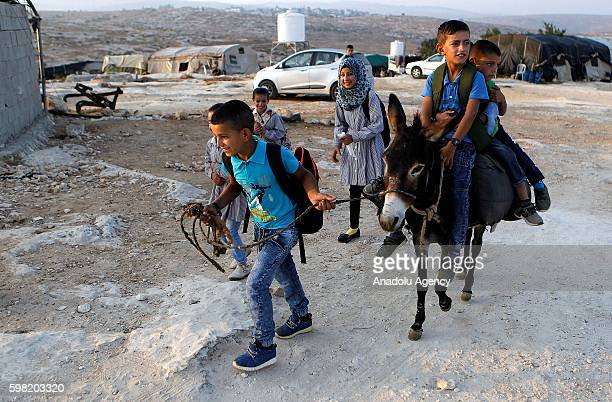 Students ride a donkey on their way to school as the new school year kicks off in Hebron West Bank on September 01 2016