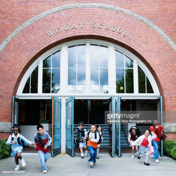 Students running out of the school