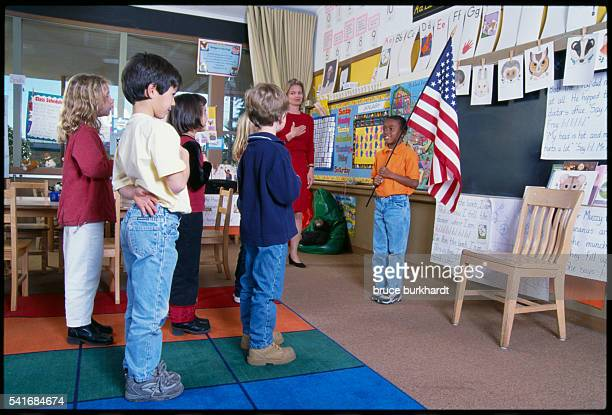 Students Saying Pledge of Allegiance in School