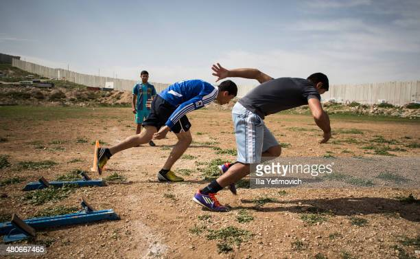 Students seen during a running class at Al Quds University on March 24 2014 in AbuDis West Bank Al Quds university is the main sports academy in the...