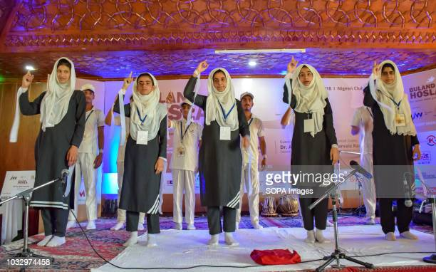 CLUB SRINAGAR JAMMU KASHMIR INDIA Students seen performing in presence of Indian Cricketer Irfan Pathan during an event organized by Jw productions...