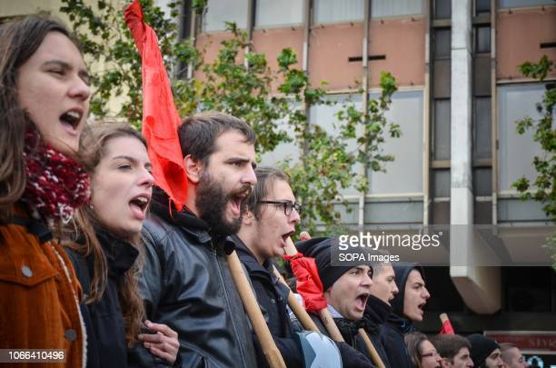 Students seen shouting slogans during the protest Hundreds students took part in a protest march against the agreement reached by Greece and...