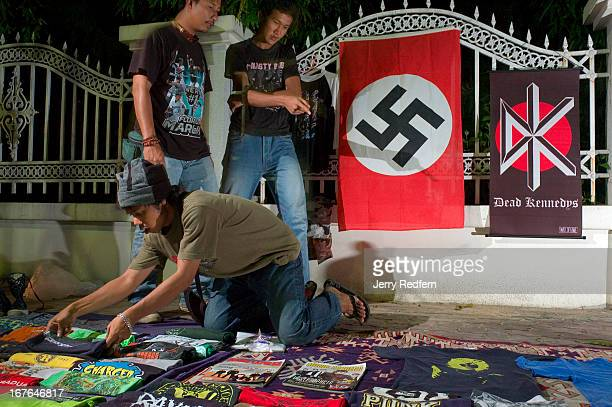 Students sell counterculture clothes and flags at night along the road leading to Prince of Songkhla University in Pattani southern Thailand The road...