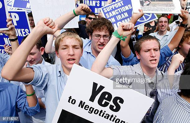 Students Sholom Reches Joey Sacharow and Etan Dinnerman of Yeshivat Rambam a Jewish school in Baltimore shout slogans during an antinukes rally...