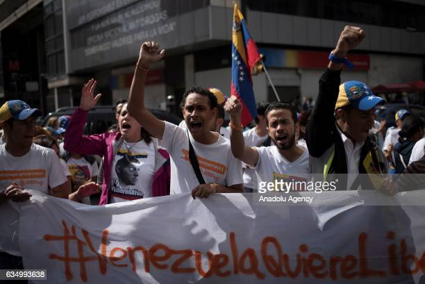 Students shout slogan against Nicolas Maduro's government in Caracas Venezuela on February 12 2017 A group of students marched to lock the Francisco...