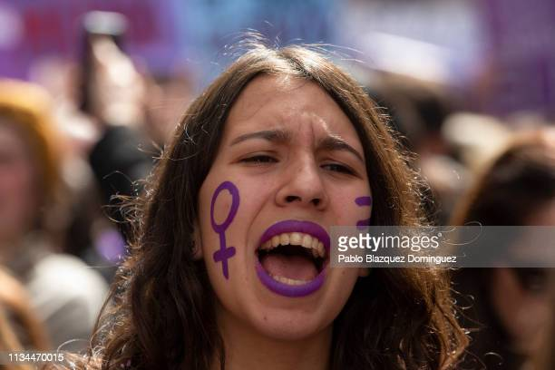 Students shout slogans as they protest along the streets during the International Women's Day on March 08 2019 in Madrid Spain Spain celebrates...