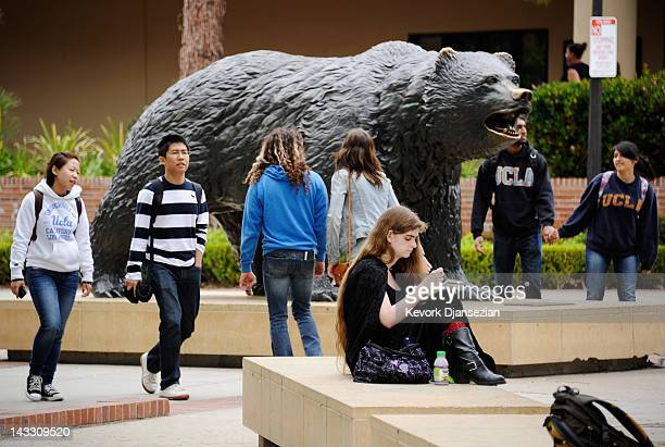 Students sit around the Bruin Bear statue during lunchtime on the campus of UCLA on April 23 2012 in Los Angeles California According to reports half...