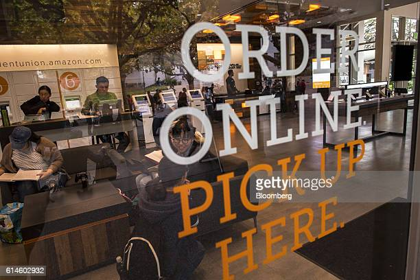 Students sit in an Amazoncom Inc kiosk on the University of California Berkeley campus in Berkeley California US on Wednesday Oct 12 2016 By the end...