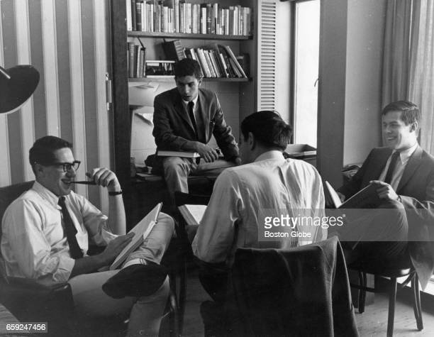 Students sit in Leverett House at Harvard University in Cambridge, Mass., June 1964. [date estimated to month]