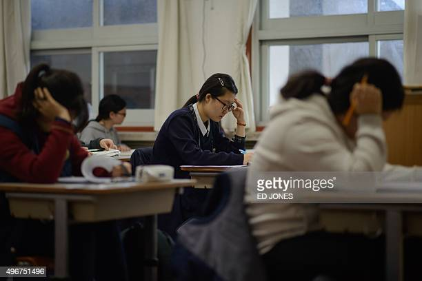 Students sit the annual college entrance exams at the Pungmoon high school in Seoul on November 12 2015 Preparation for the crucial exam starts from...