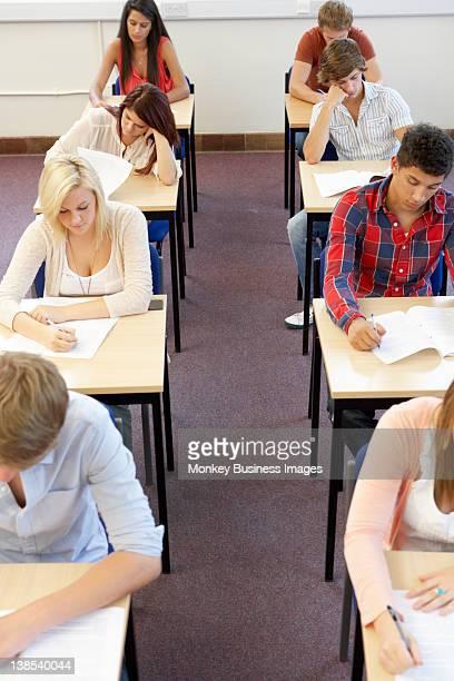 Students sitting exam