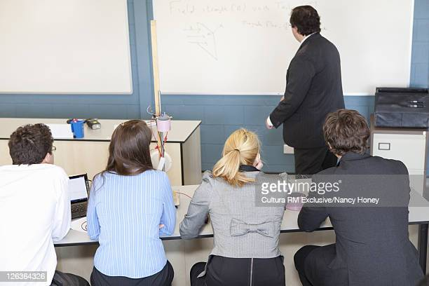 Students sitting in science class