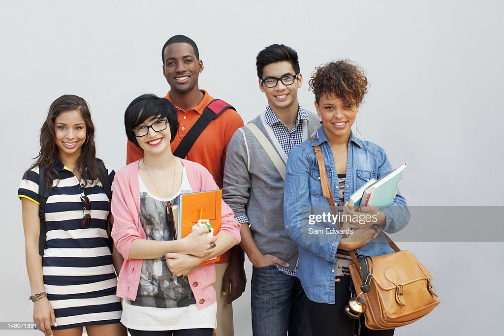 Students smiling together : Stock Photo