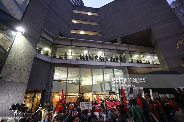 Students stage a demonstration at the Hunter College which is a part of New York City University to protest ballooning student loan debt for higher...