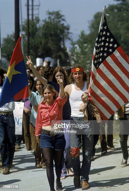 UCLA students stage a demonstration in Los Angeles to protest against the Vietnam War April 1972