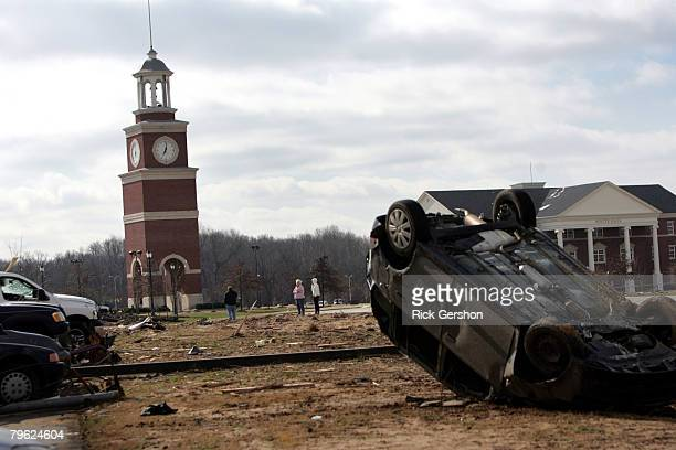 Students stand at the tornado ravished Union University February 7 at Union University in Jackson Tennessee A swarm of tornadoes torn through Arkanas...