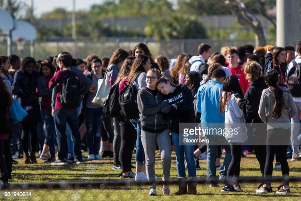 National School Walkout rally at Marjory Stoneman Douglas High School in Parkland Florida US on Wednesday March 14 2018 Politicians law enforcement...