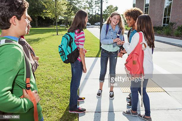 Students standing outside school