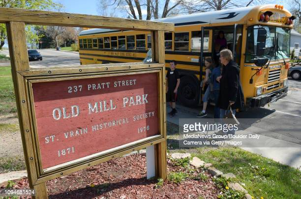 Students step off a bus for the St Vrain Historical Society's annual Pioneer Days at Old Mill Park Tuesday morning For two weeks each spring more...