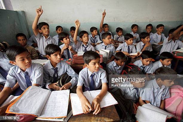 Students study at MA Idial High School a private school on November 24 2011 in Hyderabad India The government's recent passage of the Right to...