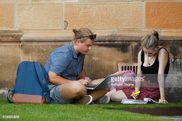 Students study at Sydney University on April 6 2016 in Sydney Australia Federal Education Minister Simon Birmingham confirming the Government plans...