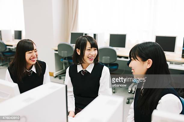 Students study in the computer laboratory, Japanese high school. Japan