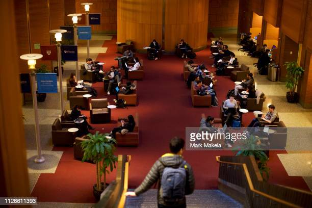 Students study in the Wharton School at the University of Pennsylvania before Deputy Attorney General Rod J Rosenstein spoke on February 21 2019 in...