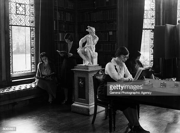 Students studying at Girton College, Cambridge.