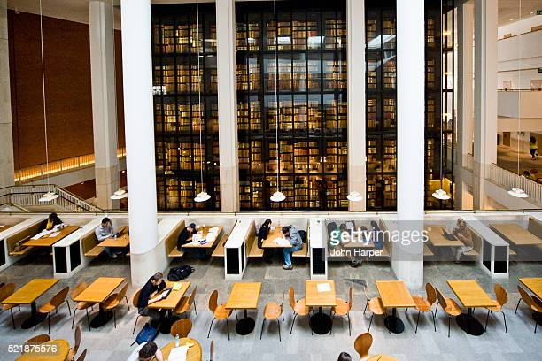 Students studying by King's Library, British Library, London
