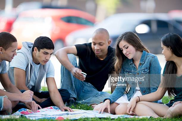 students studying for a test together - community college stock pictures, royalty-free photos & images