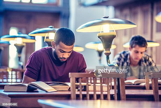 Students studying in a public library
