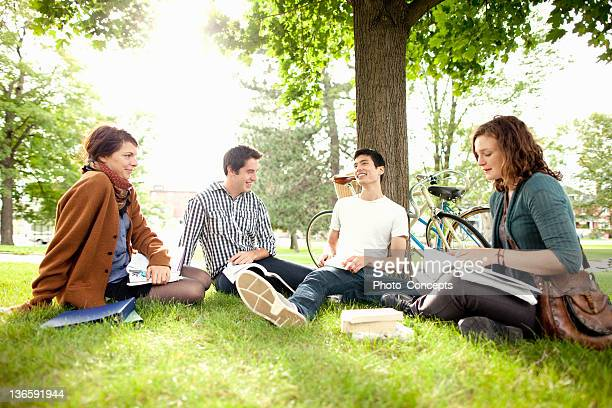students studying in grass at park - peterborough ontario stock photos and pictures