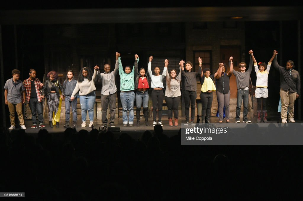 Students take a curtain call at Opening Act's 12th Annual Benefit Play Reading 'Hear Me Here' At New World Stages on March 13, 2018 in New York City.