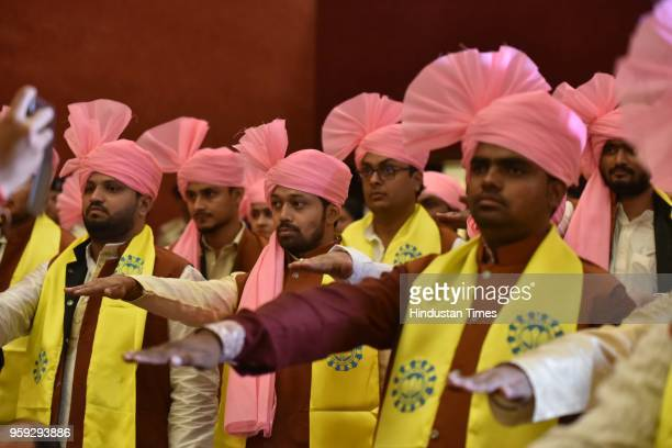 Students take oath with Vice President M Venkaiah Naidu during the 3rd convocation ceremony of Makhanlal Chaturvedi National University of Journalism...