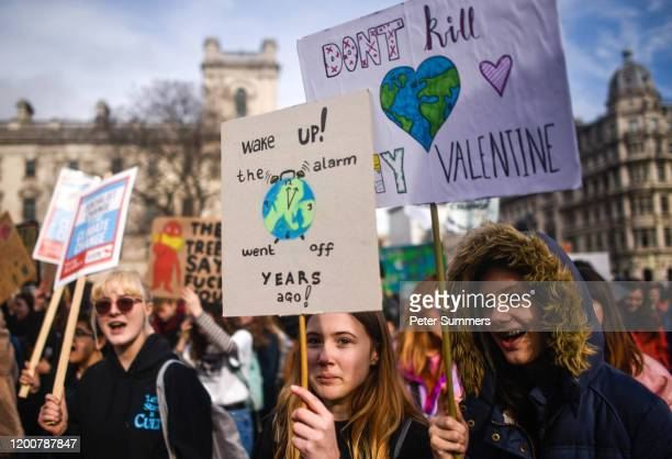 Students take part in a climate strike demo on February 14, 2020 in London, England. The school strike for climate is an international event movement...