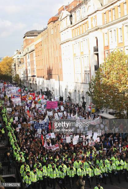 Students take part in a demonstration against higher tuition fees and privatisation in universities on November 9 2011 in London England Around 4000...