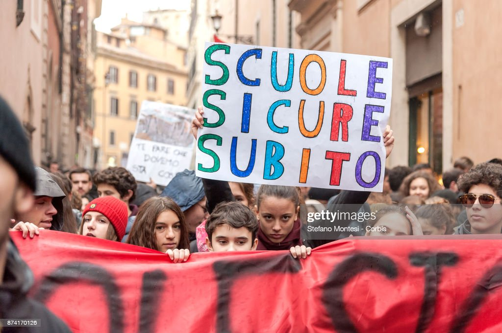 Students take part in a demonstration against the dilapidated condition of school buildings in Rome, on November 14, 2017 in Rome, Italy.