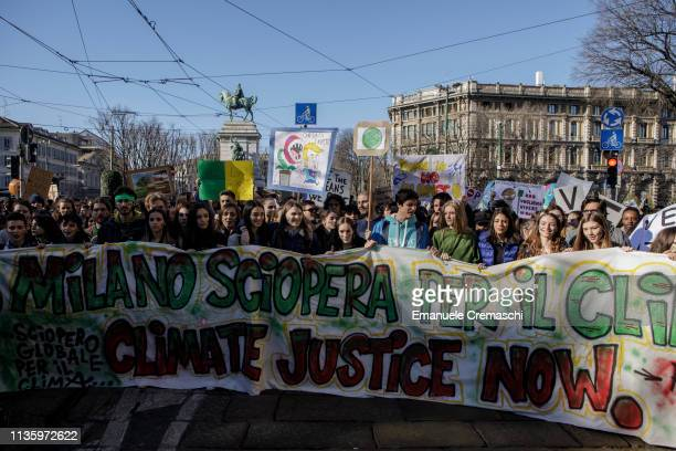 Students take part in a demonstration part of the Global Climate Strike campaign on March 15 2019 in Milan Italy Inspired by Swedish climate activist...