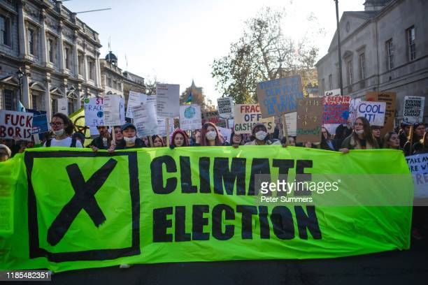 Students take part in a Fridays for Future climate change rally on November 29 2019 in London England The youth strike movement to demand action on...