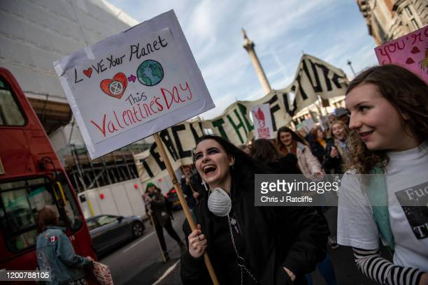 Students take part in a Fridays for Future climate change rally on February 14 2020 in London England The youth strike movement to demand action on...