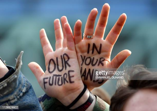 Students take part in a march for the environment and the climate o in Brussels on February 21 2019 Greta Thunberg the 16yearold Swedish climate...