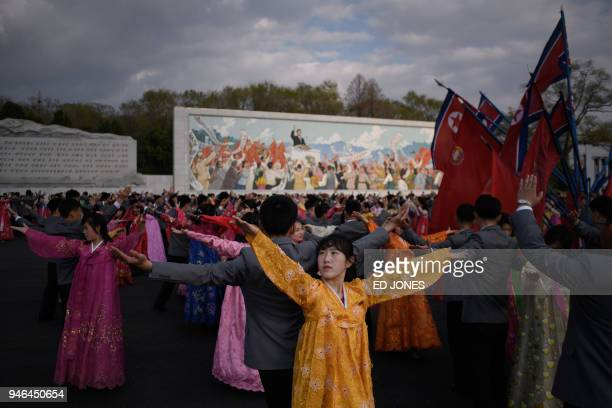 TOPSHOT Students take part in a mass dance event during celebrations marking the anniversary of the birth of late North Korean leader Kim Il Sung in...