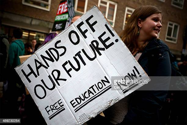 Students take part in a protest against fees and cuts in the education system on November 19 2014 in London England A coalition of student groups...