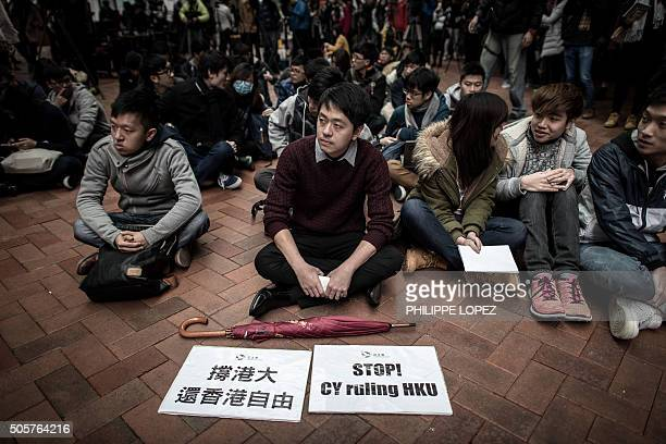 Students take part in a protest at the campus of Hong Kongs leading university HKU in Hong Kong on January 20 2016 Students protested after a...